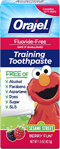 Orajel Elmo FluorideFree Training Toothpaste, Fun, One Tube: #1 Pediatrician Recommended Brand for Kids NonFluoride T...