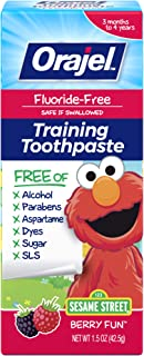 Orajel Elmo Fluoride-Free Training Toothpaste, Berry Fun, One 1.5oz Tube: Orajel #1 Pediatrician Recommended Brand for Kid...