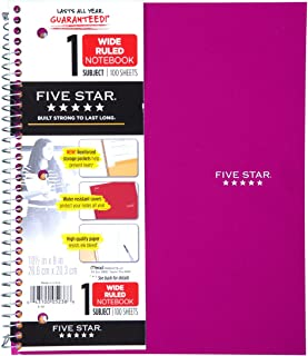"Five Star Spiral Notebook, 1 Subject, Wide Ruled Paper, 100 Sheets, 10-1/2"" x 8"" Sheet Size, Royal Purple (38735)"