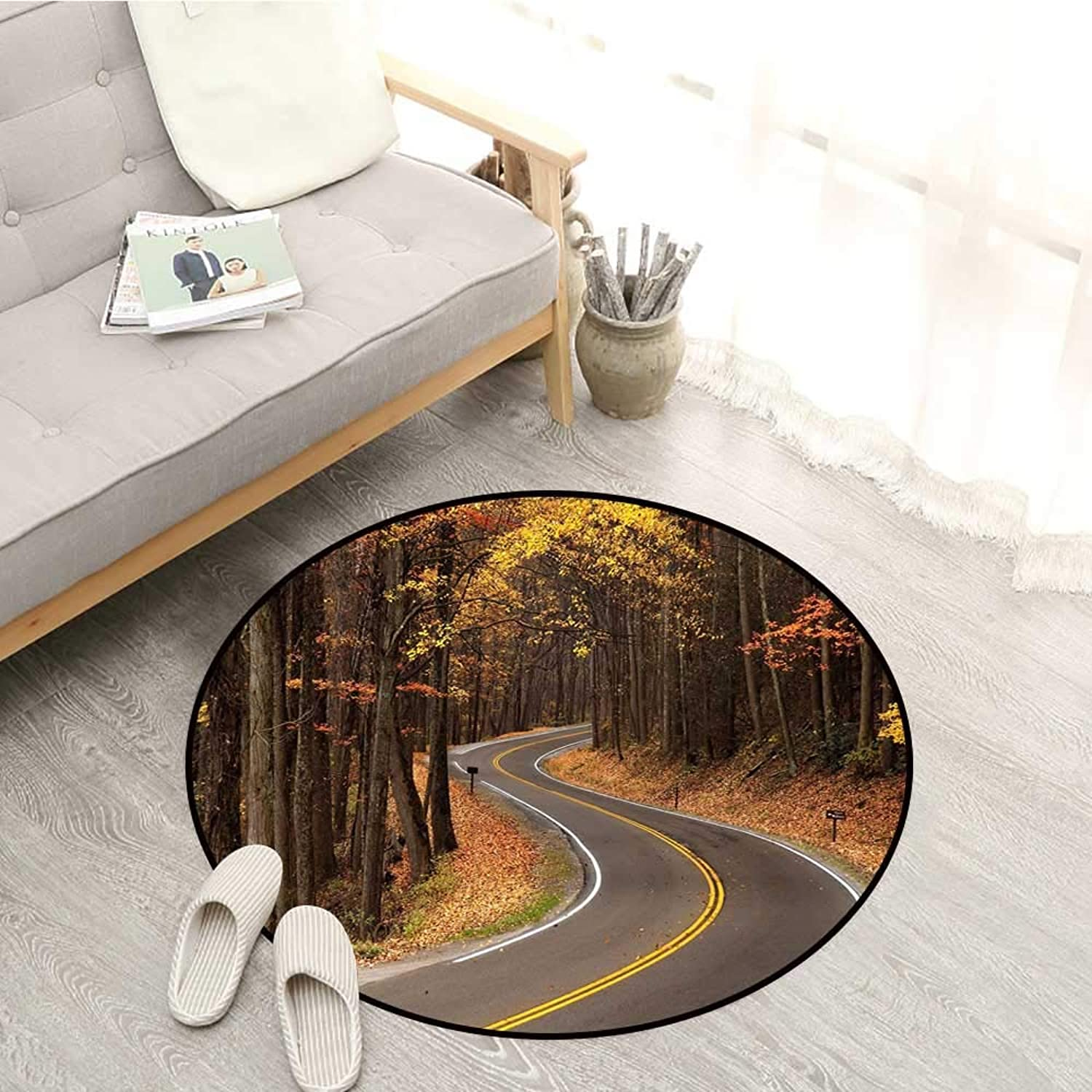 Fall Non-Slip Rugs Curvy Roadway Through The Forest Great Smokey Mountains Change of Seasons Traveling Sofa Coffee Table Mat 4'3  Multicolor