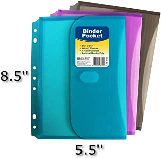 C-Line Super Heavyweight Poly Mini Size Binder Pocket, 5.5 x 8.5 inches, 7-Hole Punched, Set of 3 Pockets, Color May Vary (08730)