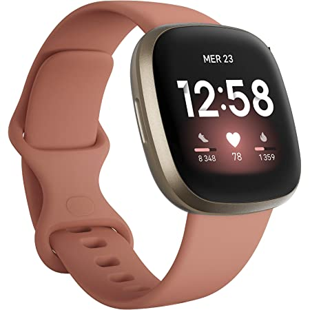 Fitbit Versa 3, la montre connectée santé et sport avec GPS intégré, suivi continu de la fréquence cardiaque, assistant vocal et jusqu'à 6 jours d'autonomie de batterie, Exclusivité Amazon