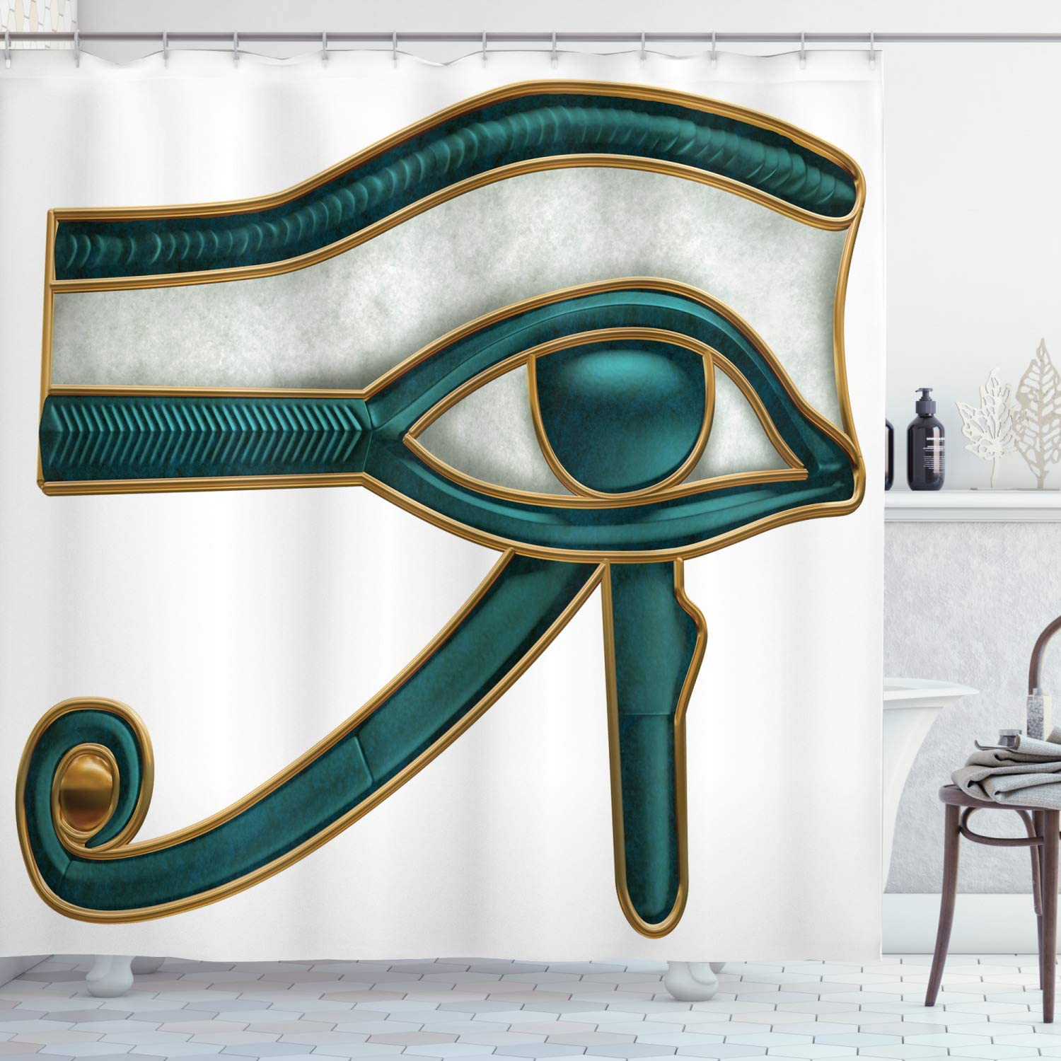Ambesonne Egyptian Print Shower Curtain, Eye Pattern Egyptian of Protection Image, Cloth Fabric Bathroom Decor Set with Hooks, 75