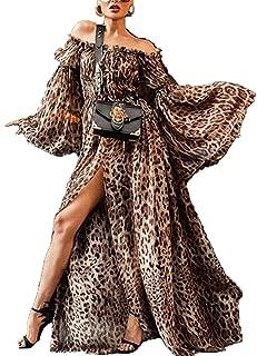 Surprise S Leopard Printed Plus Size Boho Dress Off Shoulder Maxi Dress Chiffon Split Long Sleeves Dress