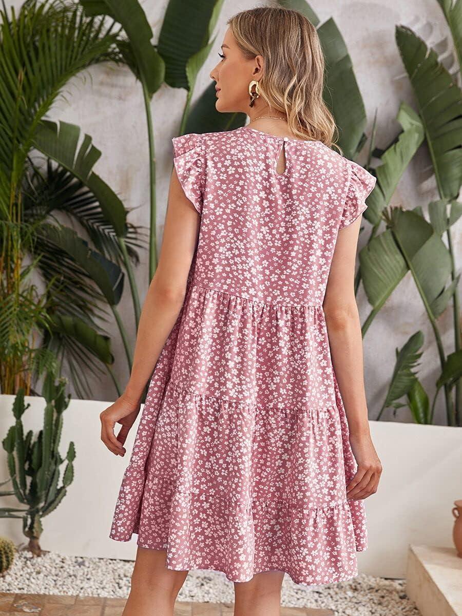 Shreem85 Maternity Dress Ruffle Trim Floral Ditsy Smoc Luxury Financial sales sale goods