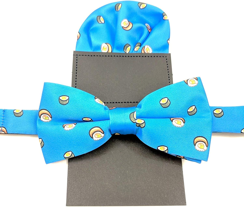 Men's Pre-tied Adjustable Bow Tie & Pocket Square Set - Food Prints - Donut, Pizza, Sushi, Burger, Avocado