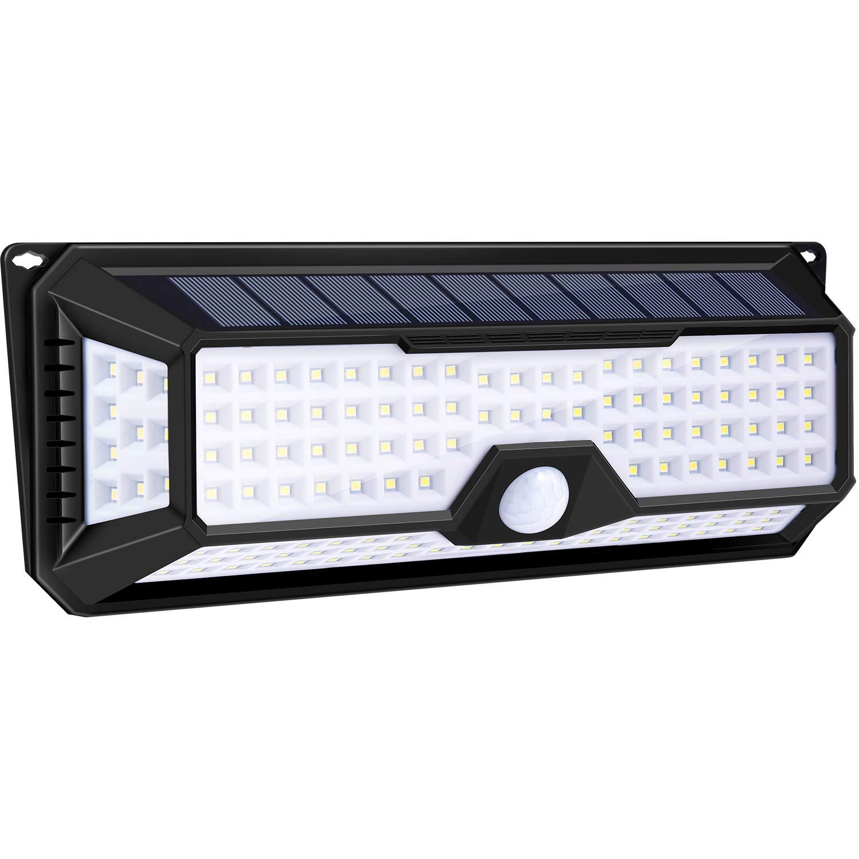 136LED Solar Powered PIR Motion Sensor Wall Light Outdoor Garden Lamp Waterproof