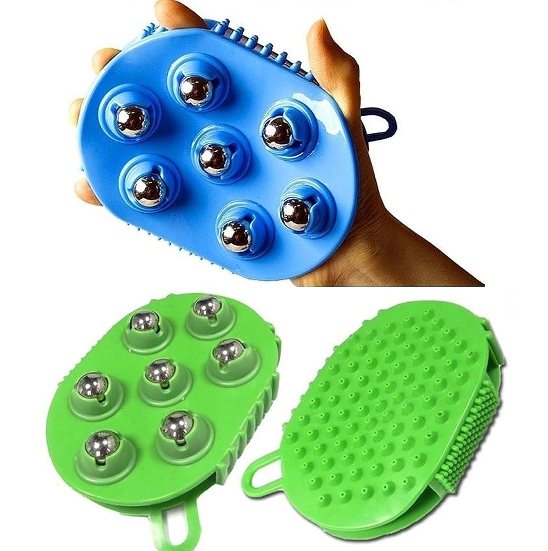 平衡複雑でない建設ステンレススチールボールマッサージブラシグローブ7ローリング 360度回転 / Stainless steel Ball Massage Brush Glove 7 Rolling 360 degree rotation / パームシリコンブラシスリミングブラシフルボディ/ palm silicon Brush Slimming Brush Full Body /ランダムカラー / Random Color [並行輸入品]