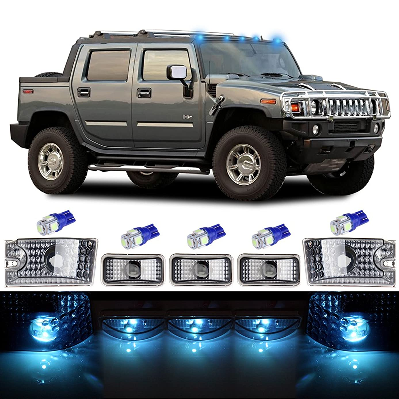 cciyu Cab Marker Light 5x Ice Blue Top Clearance Roof Running Light Bulbs Replacement Cab Marker Assembly Replacement fit for 2003 2004 2005 2006 2007 2008 2009 Hummer H2