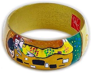 Bracciale dipinto a mano – IL BACIO DI KLIMT - Bracciale da donna, Gioiello in legno dipinto a mano, Made in Italy, Bijoux...