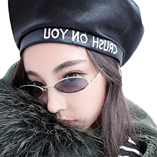 Small Oval Classic Sunglasses For Women Men Metal Frame Mirrored Lens (E)