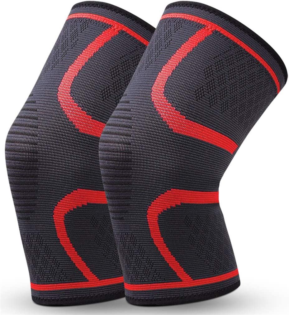 MINIDORA Breathable Elastic Knee Sleeves Non-Slip Compression Knee Braces Protective Knee Pads for Multi-Sport and Arthritis Joint Pain Relief