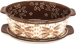 Temp-tations Basketweave 1.5 Qt Oval Baker w/Tab Handles and Lid-It (Tray) and Plastic Cover (Old World Brown)