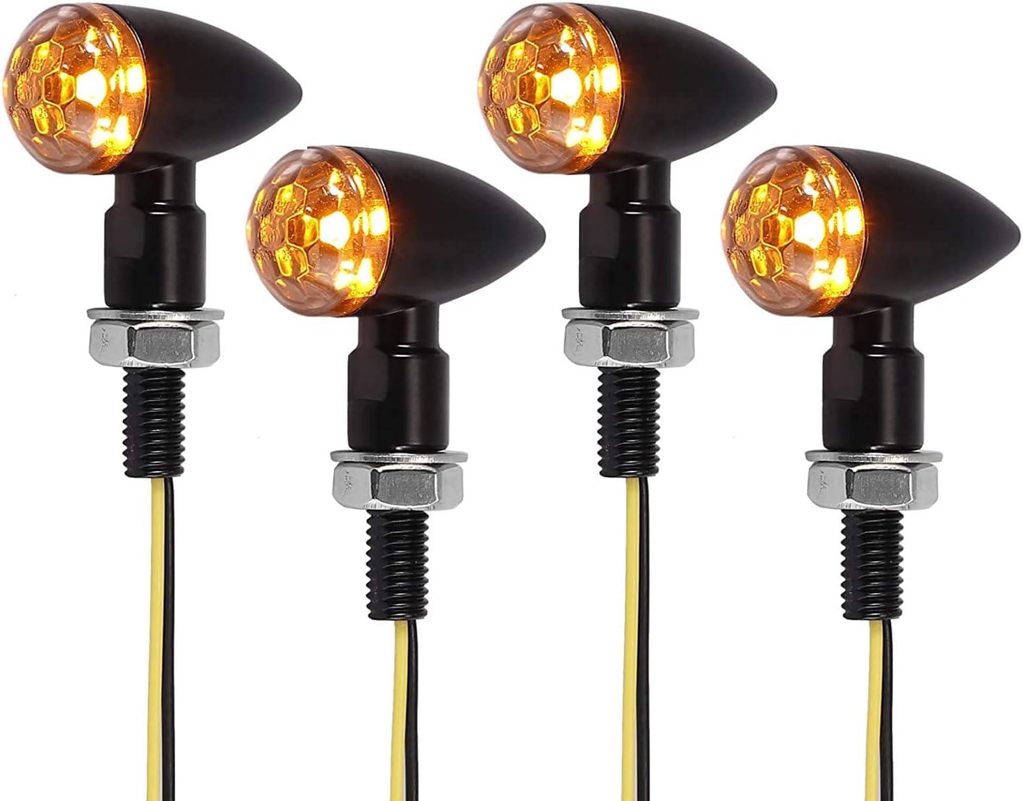 Justech Indianapolis Mall 4PCS Motorcycle LED Turn Amber Signal Mi Light Indefinitely Indicator