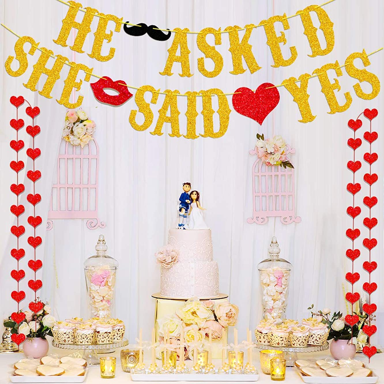 He Asked She Said Yes Real Glitter Banner For Engagement Bridal Shower Wedding Party Decorations Supplies