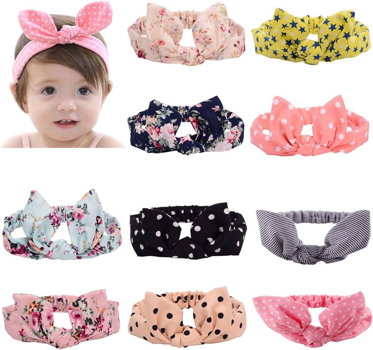 LZYMSZ 10 PC Balacas Bebe Niña Baby Turbante Banda para el Cabello,Felpas Niña Colorful Hair Wraps Baby Anudado Diademas
