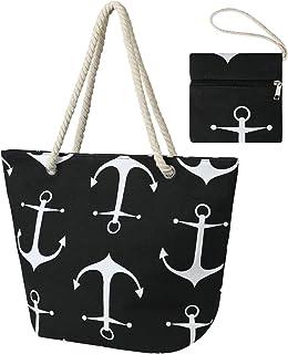 flintronic Große Strandtasche mit Reißverschluss und Innentasche Wasserdicht Strandtasche, Einkaufstasche Shopper für Dame...