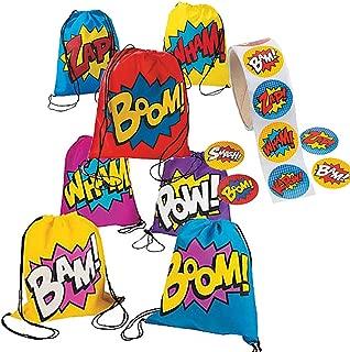Superhero Girl Boy Drawstring Backpacks Bags - 24 Back Packs & Roll of 100 Stickers
