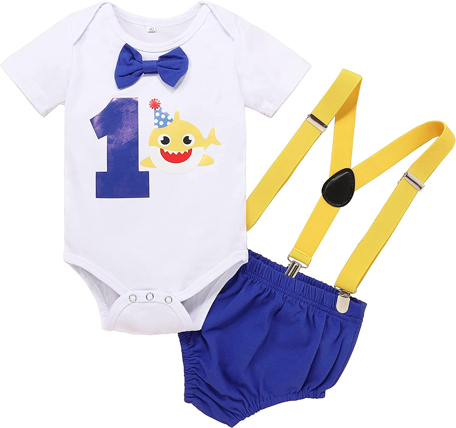 AGQT Baby Boys 1st Birthday Clothes 3PCS Y Back Suspenders Bow Tie Size 9-18 Months