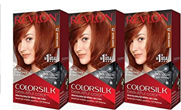 Revlon Colorsilk Beautiful Color, Medium Auburn, 3 Count