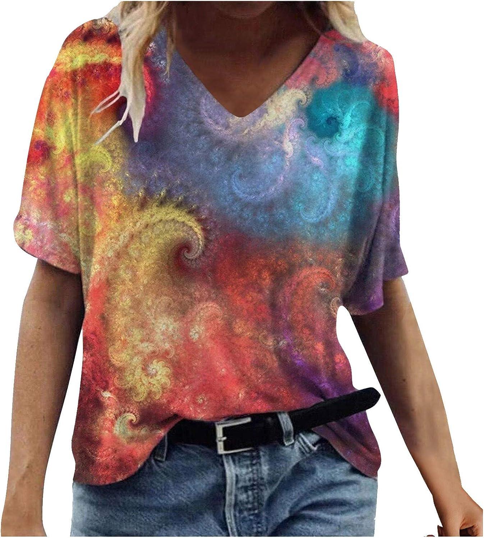 AODONG Womens Short Sleeve Tops, Womens Casual Summer Loose Fit T-Shirts V-Neck Blouse Tops Funny Shirts Blouse Shirt