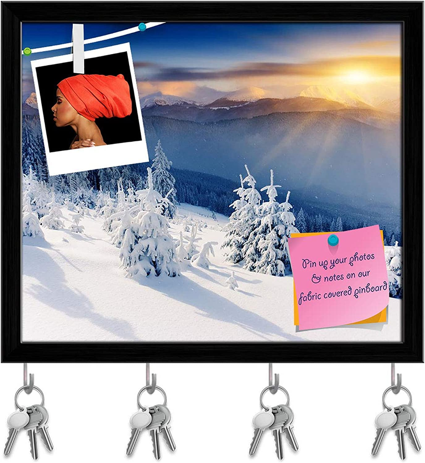 Artzfolio Majestic Winter Landscape D2 Key Holder Hooks   Notice Pin Board   Black Frame 18.8 X 16Inch
