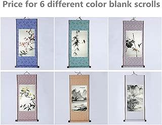 JZ014 Hmayart kakejiku Blank Mounting Hanging Wall Scroll Set for Kanji, Sumi and Chinese Calligraphy (6pcs/Set) (Scroll Size: 11.8