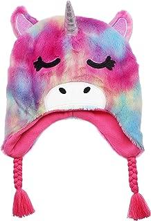 Newfancy Kids Little Girls Unicorn Beanie Winter Hat Rainbow Faux Fur Plush Fleece Lined Earflap Cap Pink