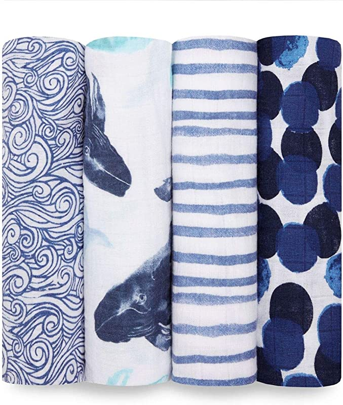 Aden Anais Swaddle Blanket Boutique Muslin Blankets For Girls Boys Baby Receiving Swaddles Ideal Newborn Infant Swaddling Set Perfect Shower Gifts 4 Pack Seafaring