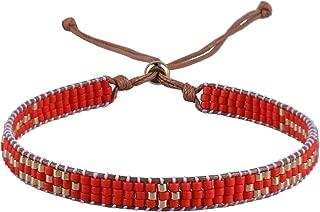 Woven Friendship Bracelet for Women String Sead Beaded Wax Rope Braided Adjustable Bracelet Handmade