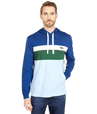 Lacoste Long Sleeve Color-Blocked Hooded T-Shirt (Globe/Flour/Green/Overview) Men