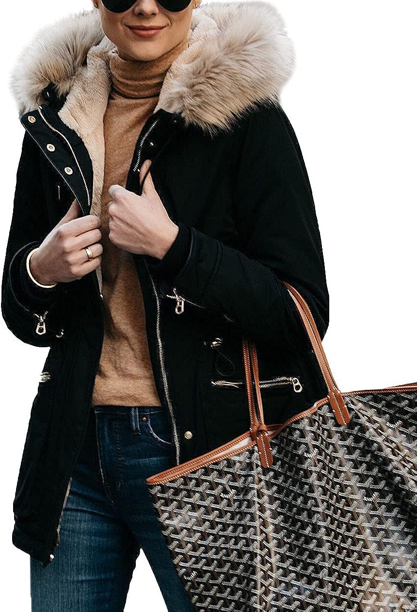 Imily Bela Womens Thicken Winter Coats Fleece Fur Removable Hooded Warm Outerwear Parkas Jackets