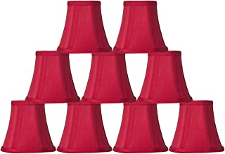 Urbanest Set of 9 Red Silk Bell Chandelier Lamp Shade, 3-inch by 5-inch by 4.5-inch, Clip-on