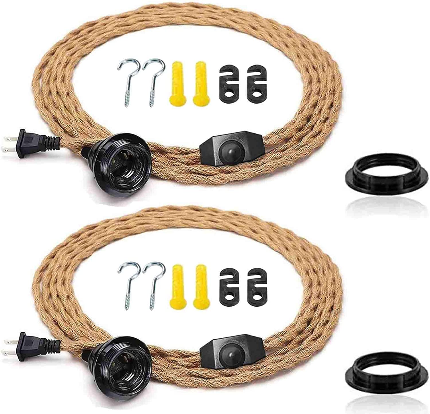 2Pack 15FT Pendant Light Cord Kit Dimmer He Switch Credence with Twisted ! Super beauty product restock quality top!