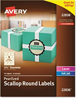 Avery Pearlized Ivory Scallop Round Labels, 2.5-Inch Diameter, Pack of 72 (22836), White