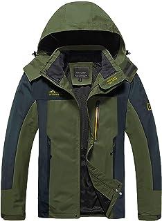 MAGCOMSEN Men's Outdoor Hooded Windproof Jacket 5 Pockets Water Resistant Rain Coat