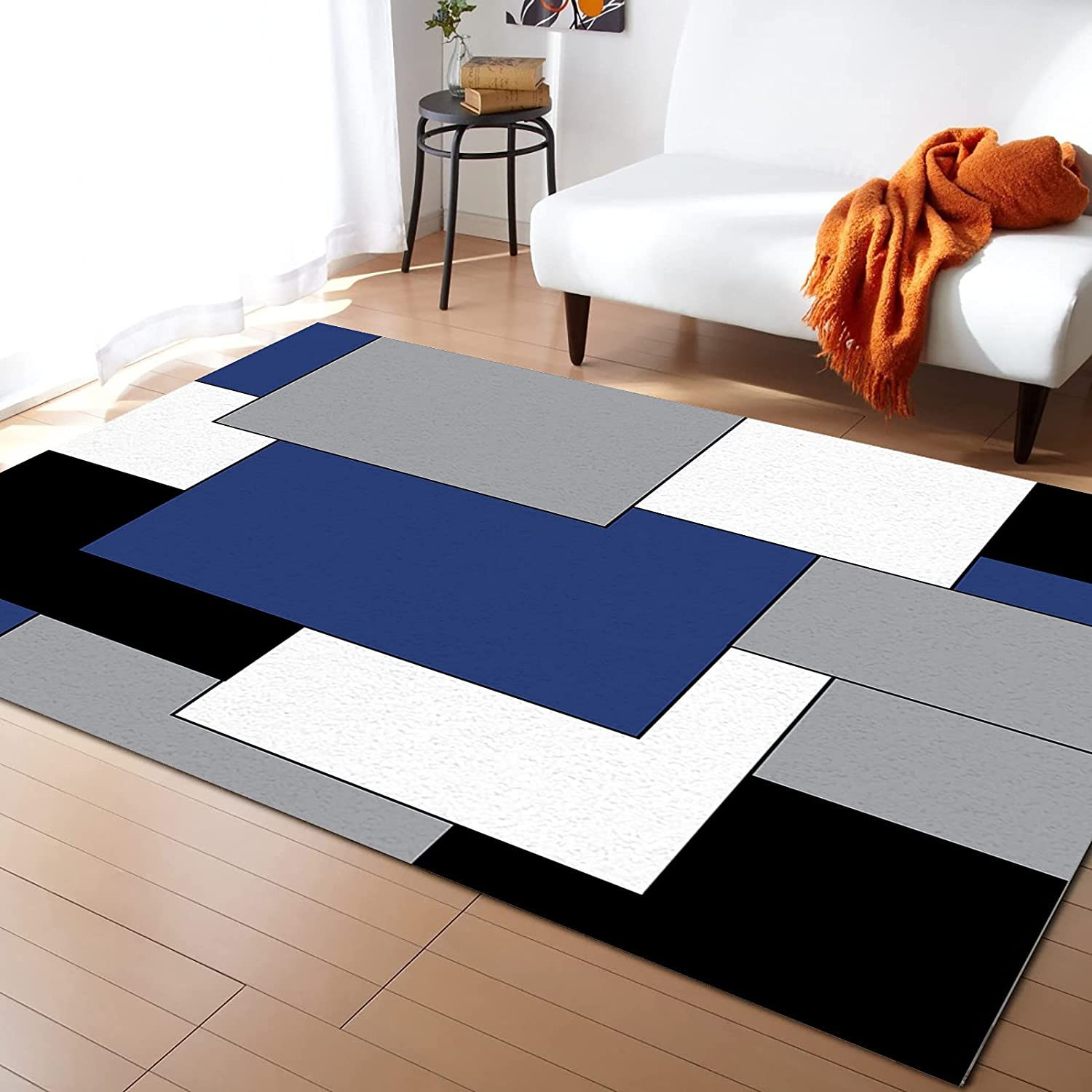Area Rugs for Living Room Bedroom Black Blue Navy Stitching Excellence Gray Direct store