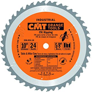 CMT 250.024.10 ITK Industrial Rip Saw Blade, 10-Inch x 24 Teeth 1FTG+2ATB Grind with 5/8-Inch Bore