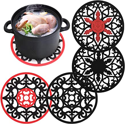 Soft Silicone Trivets Mat,Flexible Hot Pads Slip Insulation Mat for Pot Holders, Dishes,Spoon Rest, Jar Opener & Coasters, Heat Resistant Bowl Saucepan Mat
