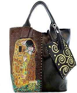 Borsa da donna in pelle dipinta a mano – IL BACIO DI KLIMT - Borse Donna, Borse a Mano, Vera Pelle, Made in Italy, in Pell...