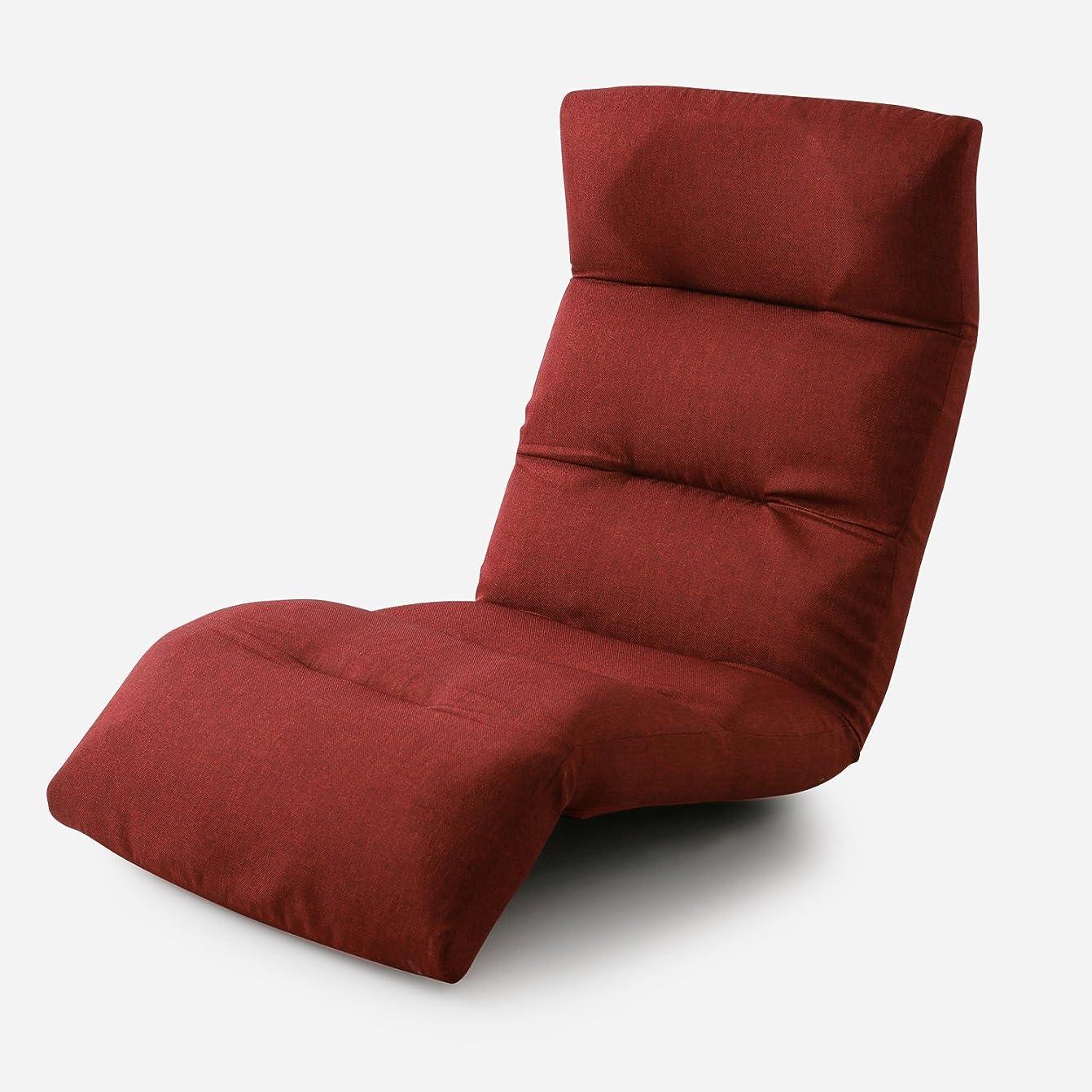 リファイン光景日食LOWYA (ロウヤ) 座椅子 リクライニング 日本製 国産 ハイバック 高反発 42段階ギア 11段階フットギア 3ポイント可動 ファブリック レッド おしゃれ 新生活