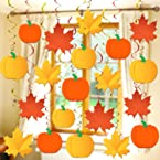 Thanksgiving Swirls for Hanging Fall Decorations - No DIY, Pack of 30 | Maple Leaf, Pumpkin Swirl Decorations | Foil Hanging Autumn Decorations for Home, Office, Birthday, Fall Classroom Decorations
