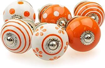 Möbelknopp möbelknopp möbelhandtag set om 6 089GN punkter cirklar prickar vit orange – jay knapp keramik porslin handmålad...