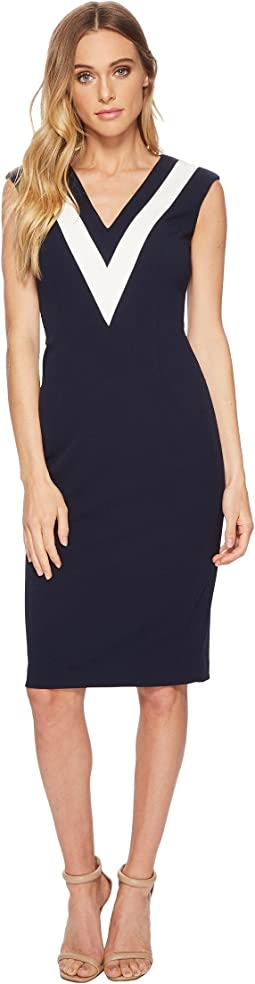 Adrianna Papell Knit Crepe Color Block Sheath