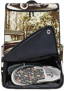 DEZIRO - Mochila para ordenador portátil, diseño retro de coche, para mujeres y hombres, universidad, colegio, mochila de negocios
