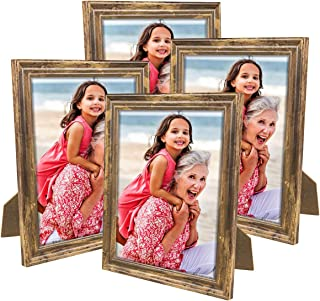 NUOLAN 8x10 Picture Frame Farmhouse Rustic Brown Wood Pattern Photo Frames for Wall or Desk Display, 4 Packs(NL-8X10RB)