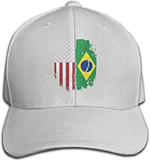 Unisex Vintage Brazilian American Flag Cotton Denim Baseball Cap, Adjustable Hip Hop Hat