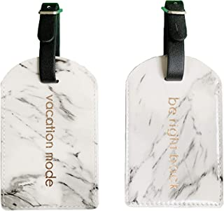 White Marble Print Luggage Tag Set of 2 with Rose Gold Lettering for Travel in Gift Box Packaging