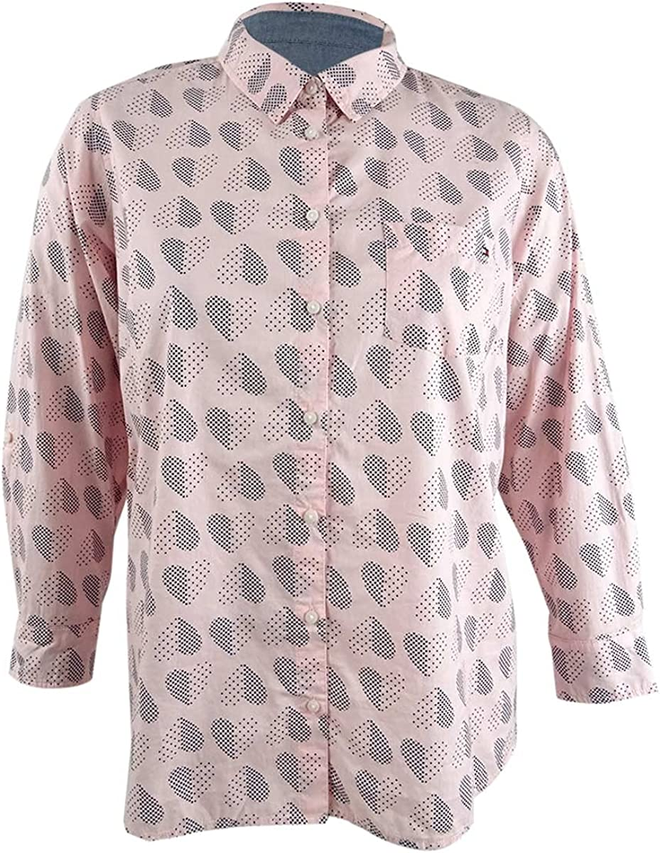 Tommy Hilfiger Womens Plus Button-Down Heart Print Top Pink 0X