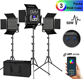 GVM 3 Pieces RGB Video Lighs Kit with APP Control CRI97 Variety Color and Brightness Dimmable 2000K-5600K LED Photography Lighting kit with Stand for YouTube Studio Photography Camera Video Lighting